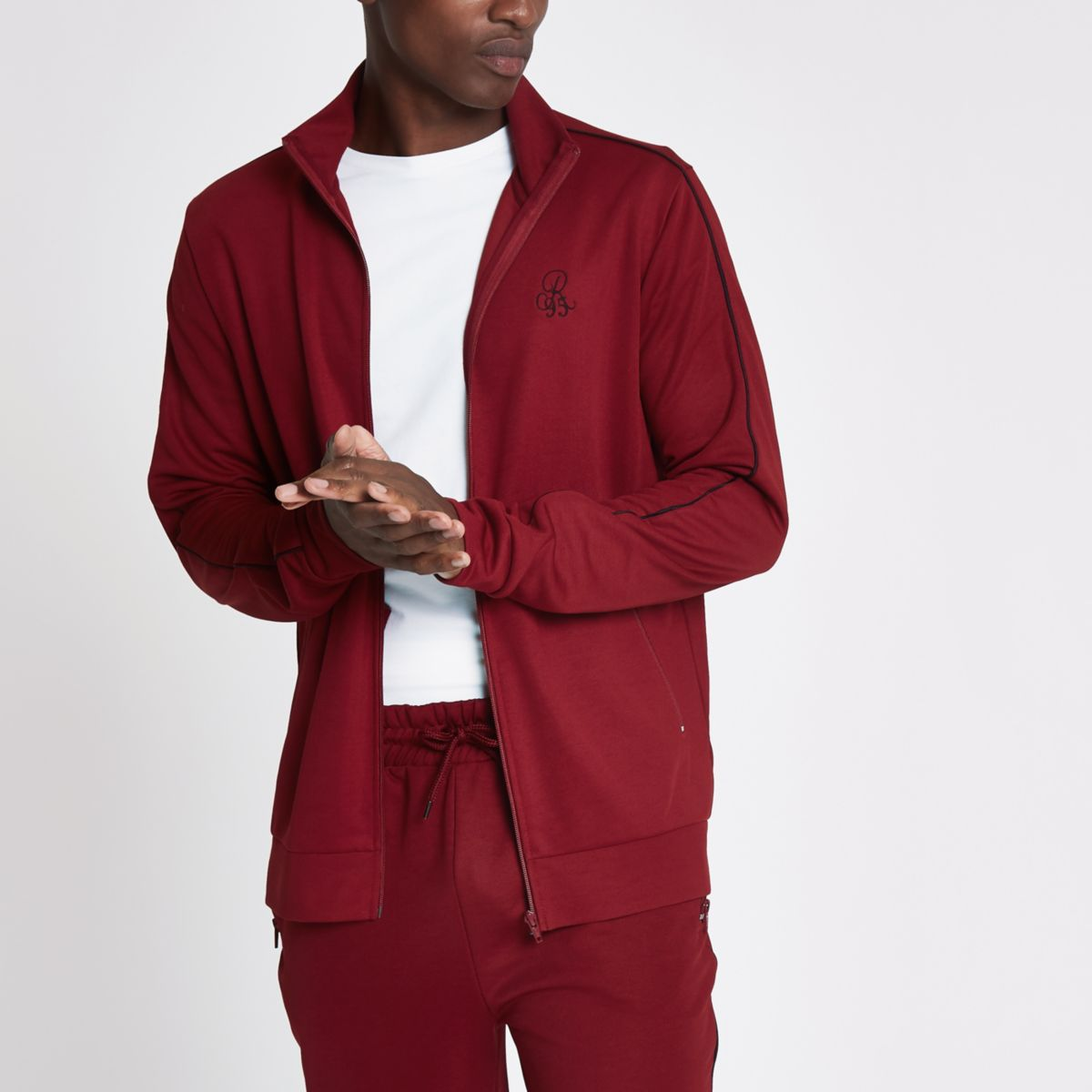 Dark red piped slim fit tracksuit jacket