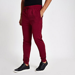 Donkerrode slim-fit joggingbroek met bies