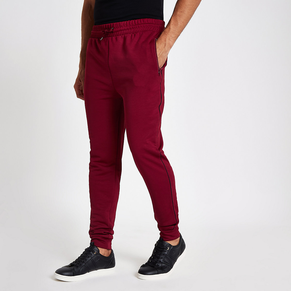 Dark red piped slim fit joggers