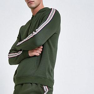 Khaki slim fit tape sleeve hoodie