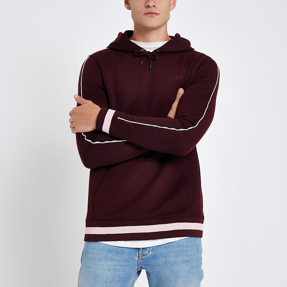 Burgundy slim fit piped sleeve hoodie