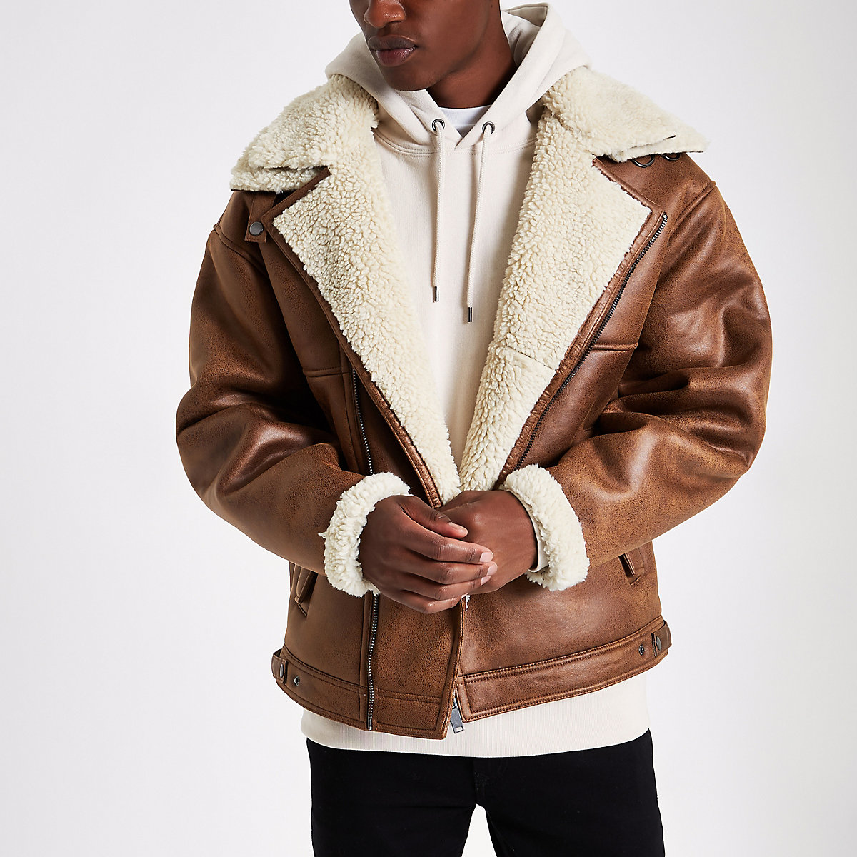 Brown fleece biker jacket