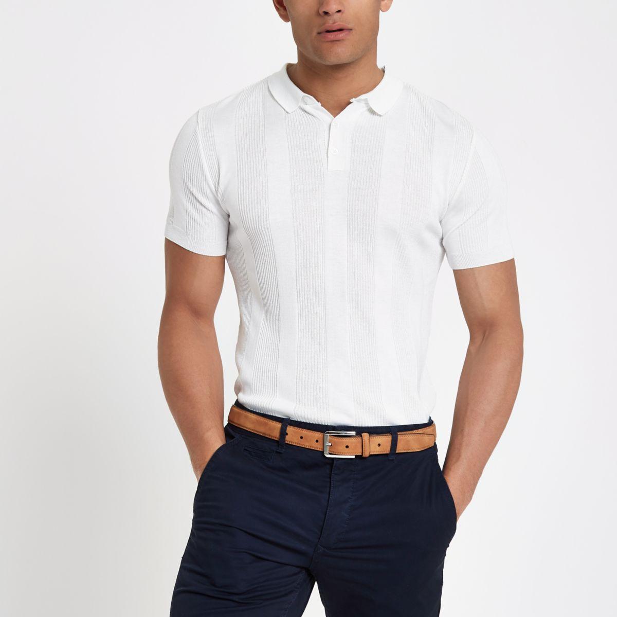 White muscle fit rib polo shirt