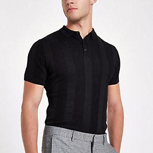 Schwarzes, geripptes Muscle Fit Poloshirt