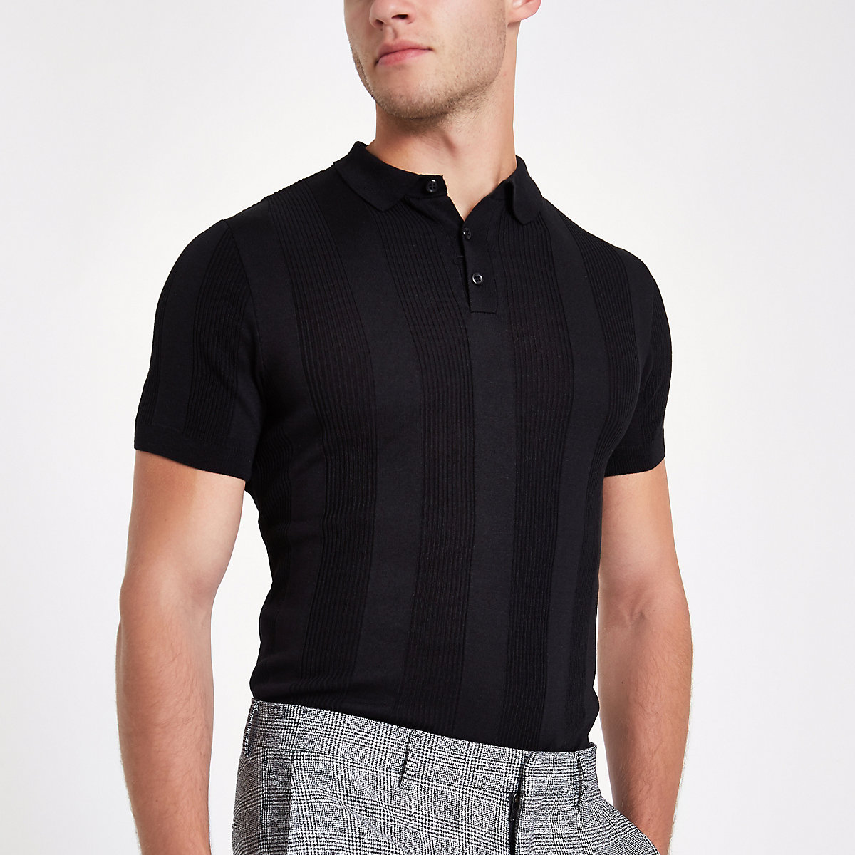Black muscle fit rib polo shirt