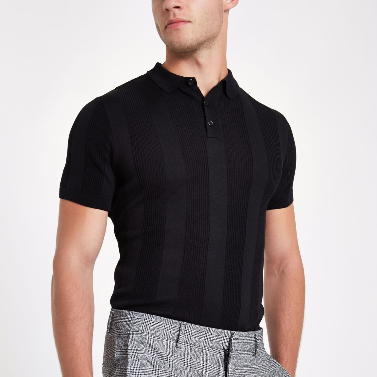 Black muscle fit rib polo shirt