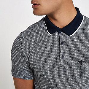 Navy jacquard slim fit polo shirt