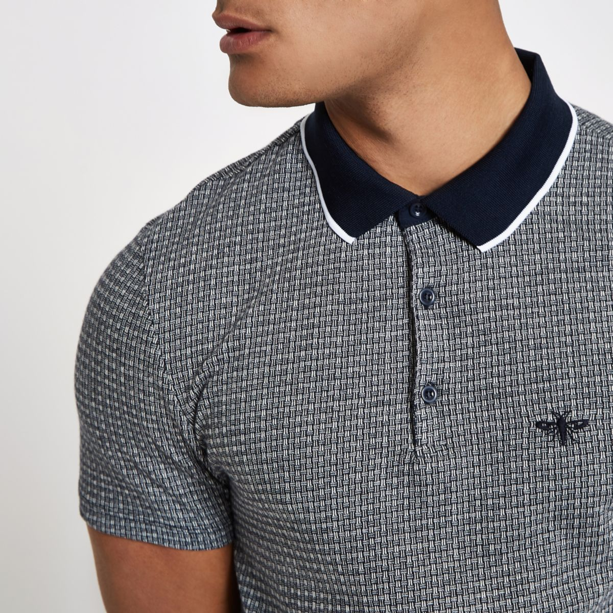 Navy jacquard slim fit polo shirt