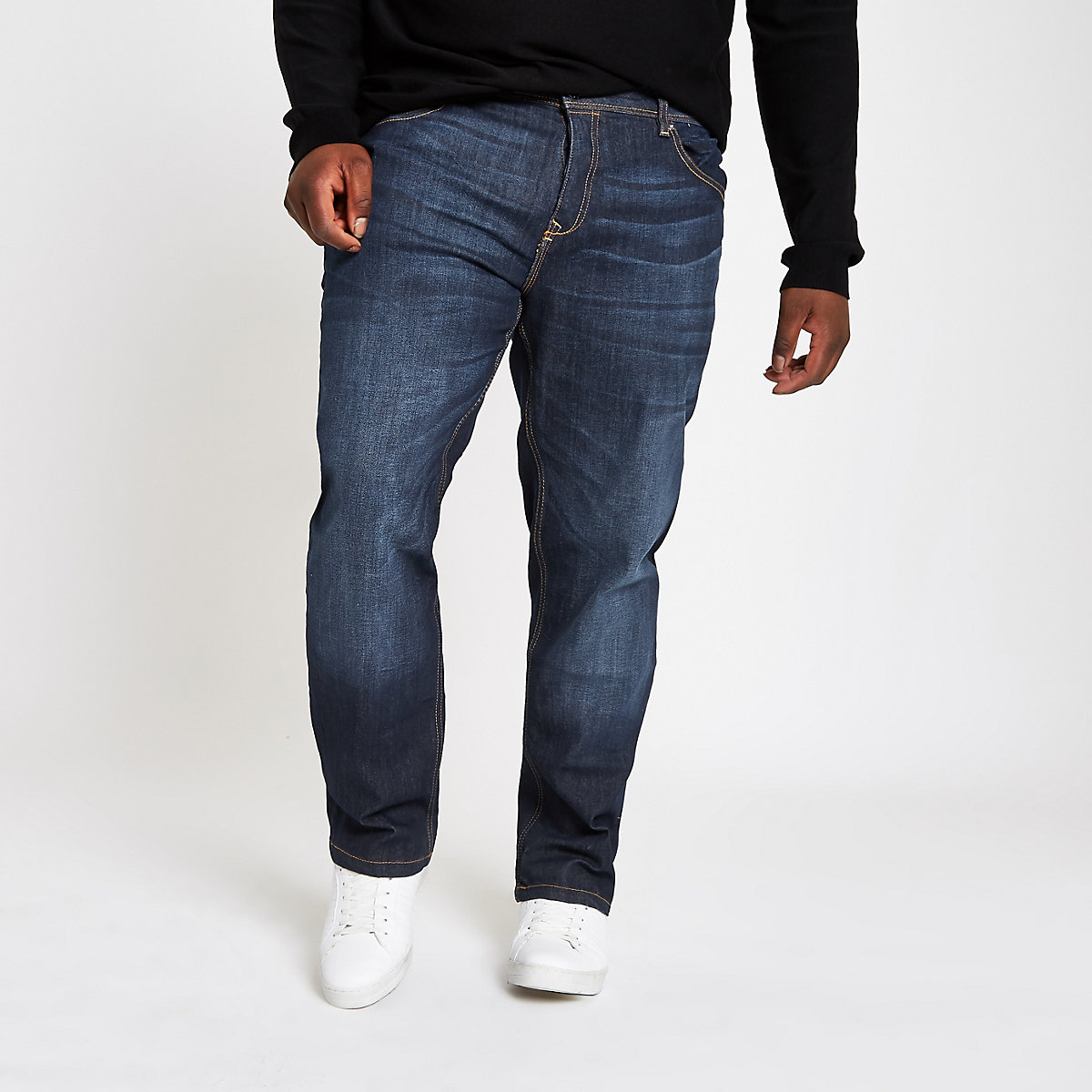 Big and Tall dark blue straight leg jeans