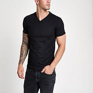 T-shirt ajusté noir côtelé à col en V