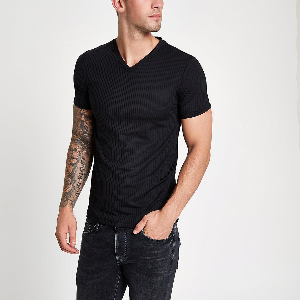 Black rib muscle fit V neck T-shirt