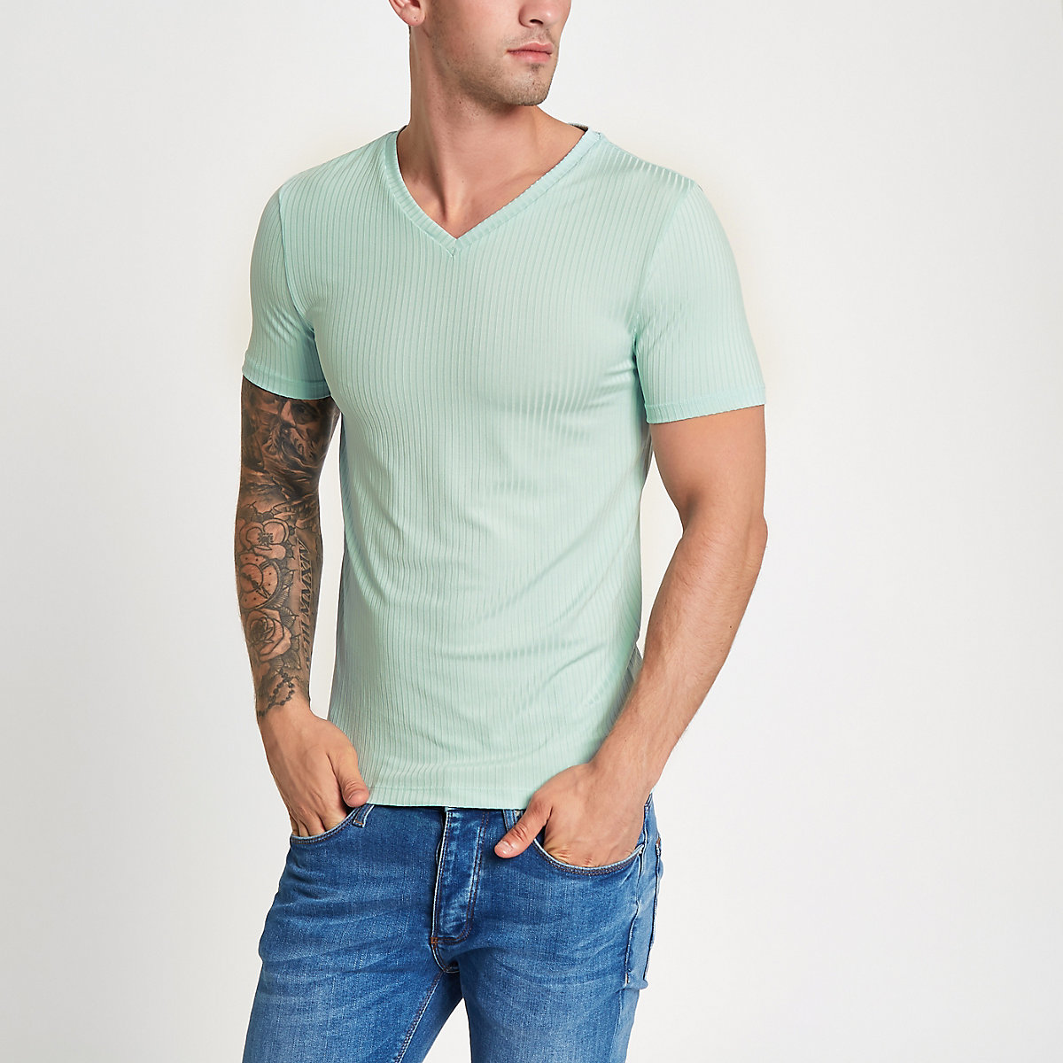 Green rib muscle fit V neck T-shirt