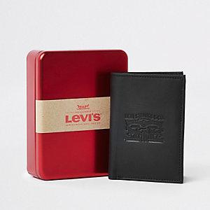 Levi's –  Portefeuille en cuir noir avec cheval en relief
