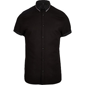 Black double collar slim fit shirt