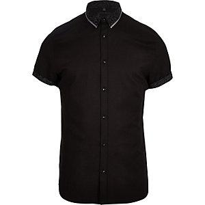 Zwart slim-fit overhemd met dubbele kraag