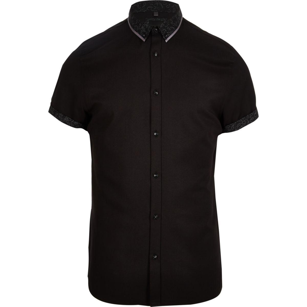 Black double collar slim fit shirt