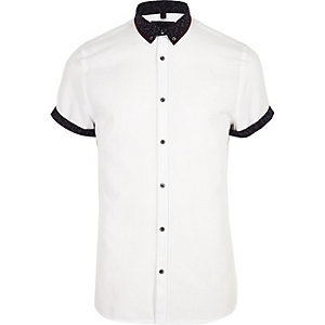 White double collar slim fit shirt