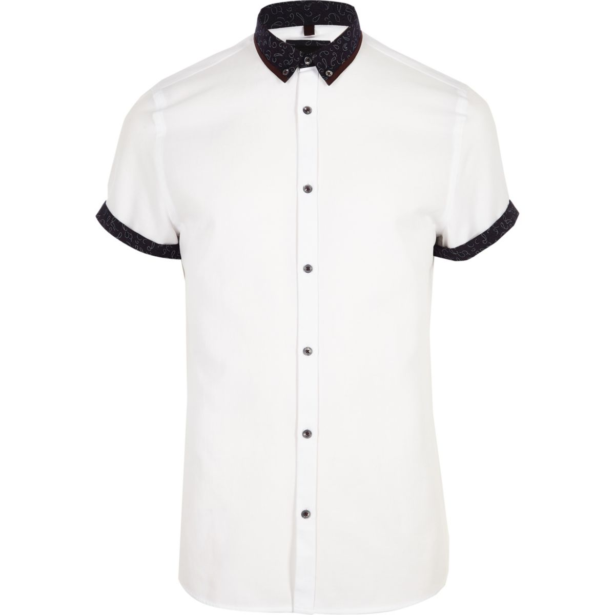 Mens White double collar slim fit shirt River Island
