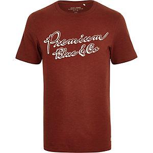 Jack & Jones Premium – Braunes T-Shirt mit Print