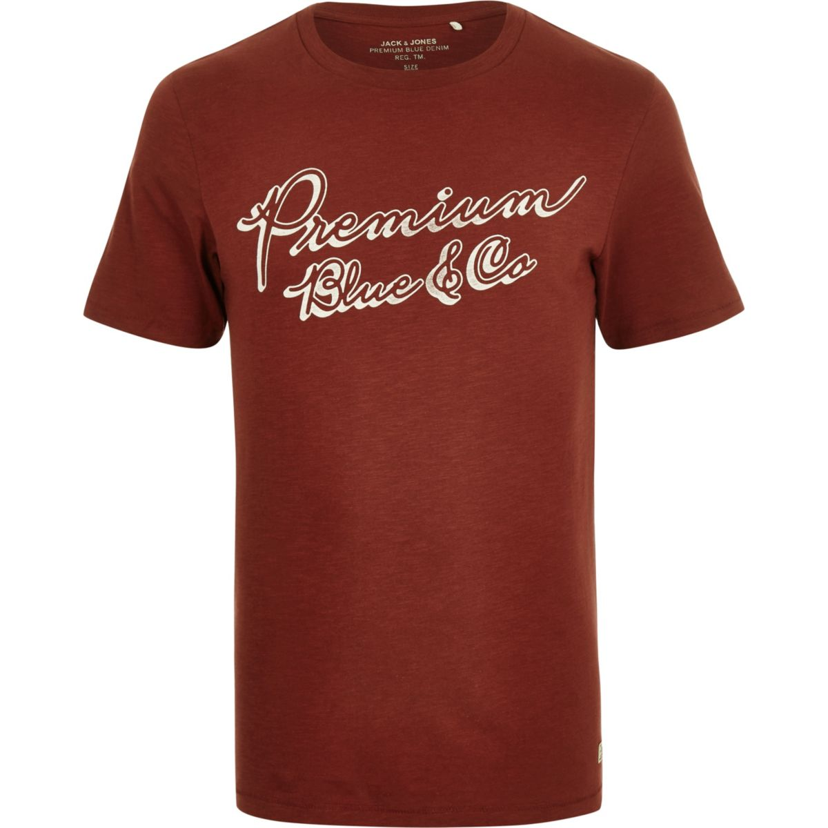Jack & Jones Premium brown print T-shirt