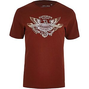 Jack & Jones brown 'premium blue' T-shirt
