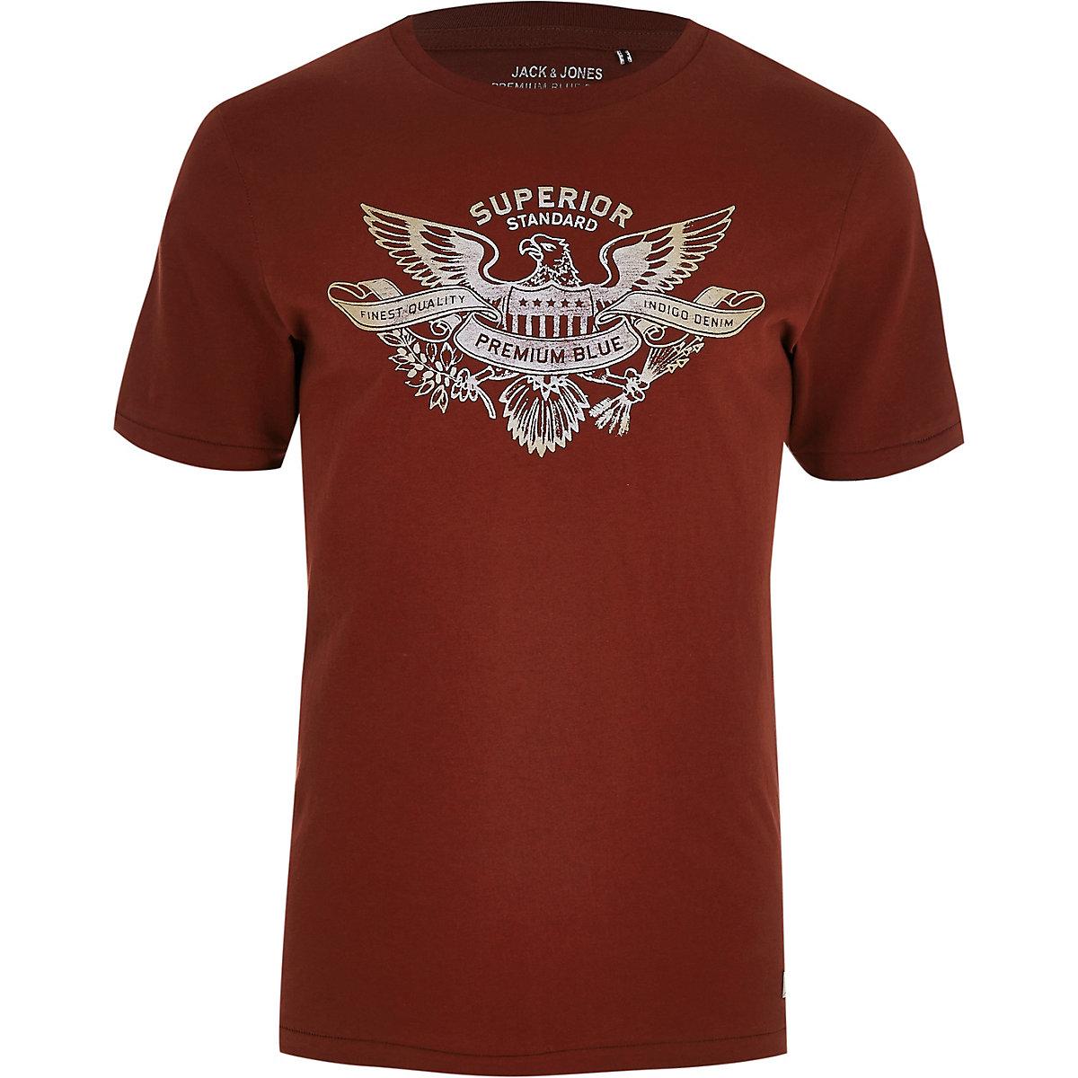 Jack & Jones brown 'premium blue' T-shirt
