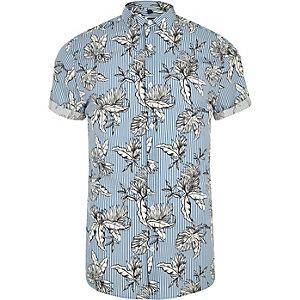 Blauw slim-fit overhemd met een print van bloemen en strepen