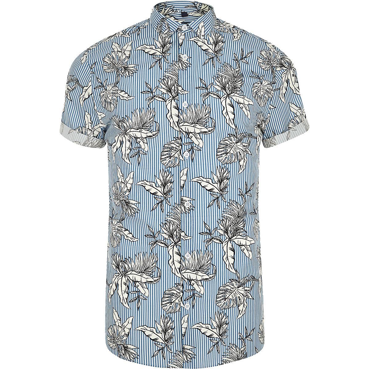 Blue stripe floral print slim fit shirt
