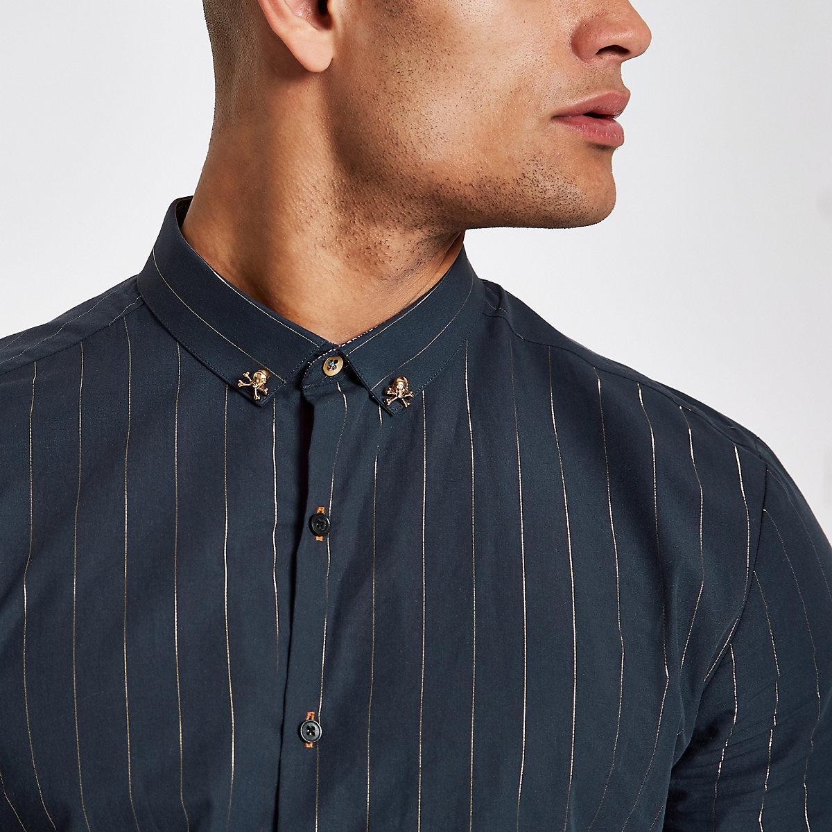 Navy metallic stripe slim fit shirt