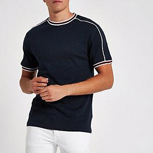 Marineblauw slim-fit T-shirt met randje