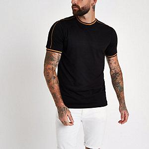 Black tipped slim fit T-shirt
