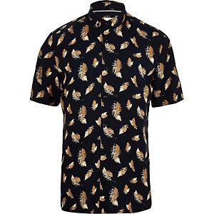 Marineblauw T-shirt met korte mouwen en verenprint