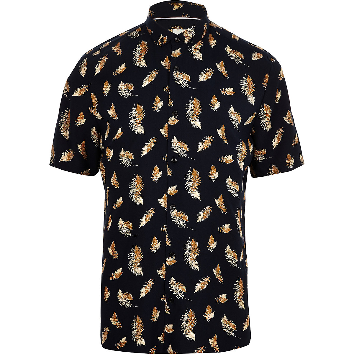 Navy short sleeve feather print T-shirt