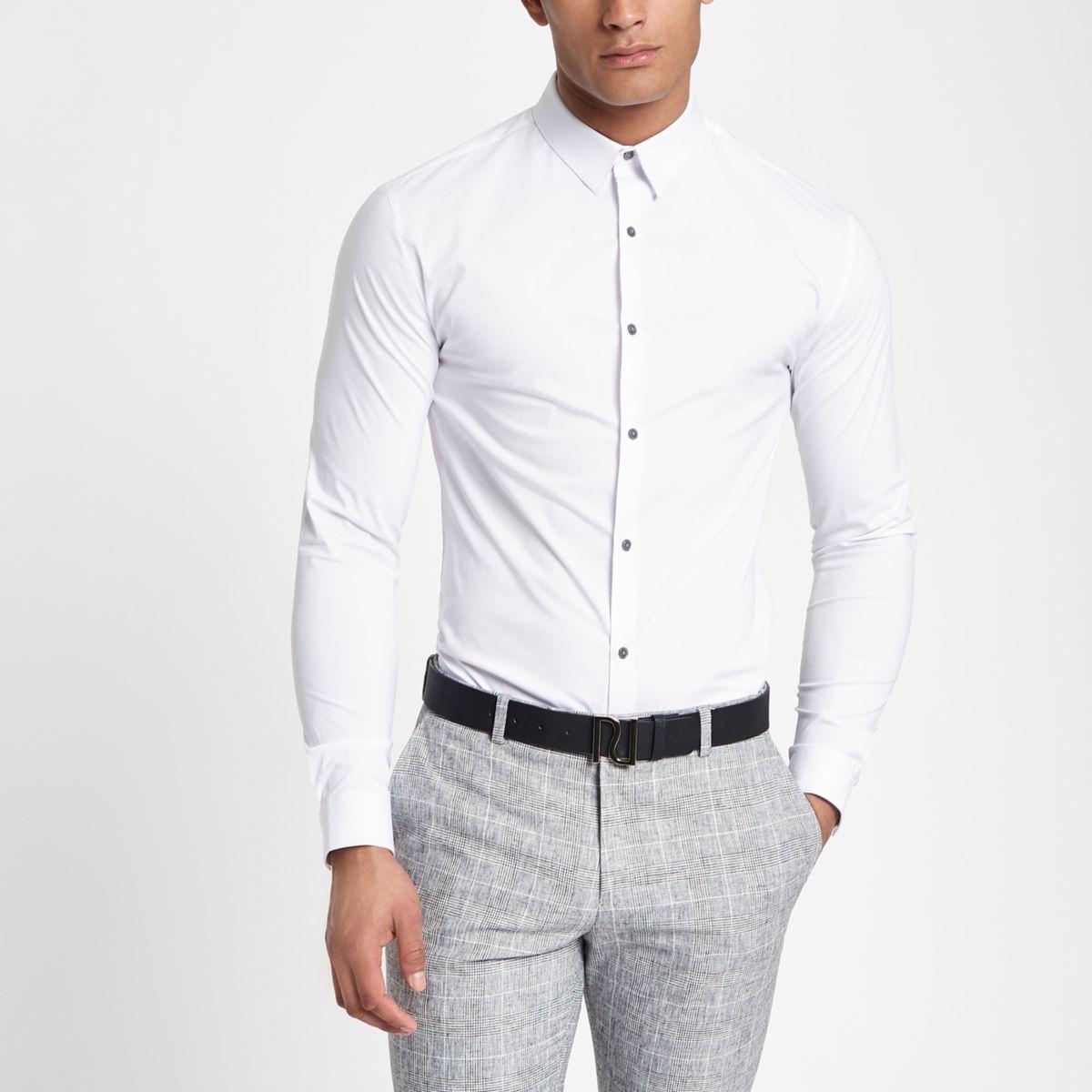 White poplin muscle fit long sleeve shirt