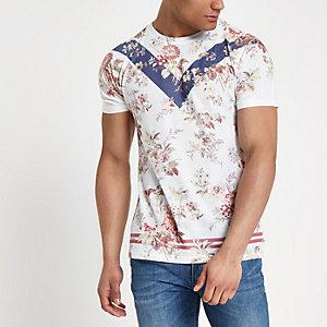 Wit gebloemd slim-fit T-shirt met gecombineerde print