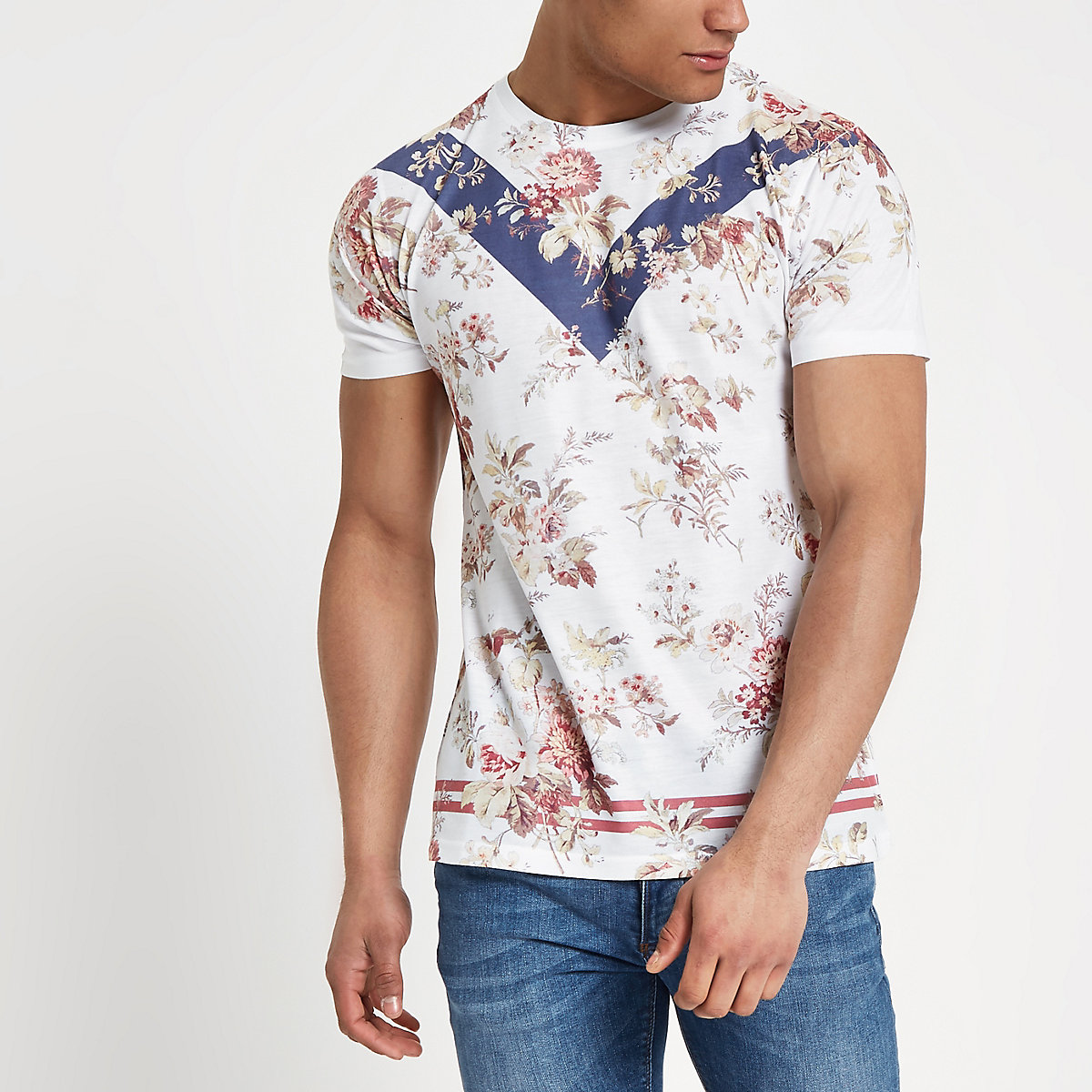 White slim fit mixed print floral T-shirt