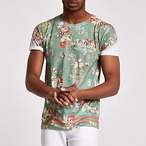 T-shirt slim kaki à fleurs