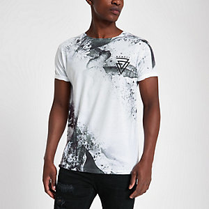 White slim fit 'MCMXCI' print T-shirt