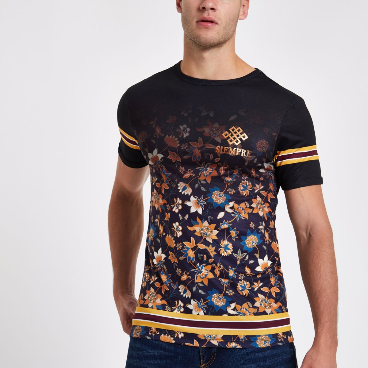 Black floral stripe muscle fit T-shirt