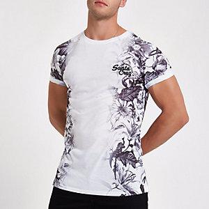 T-shirt slim blanc à fleurs à inscription 'Santa Cruz'