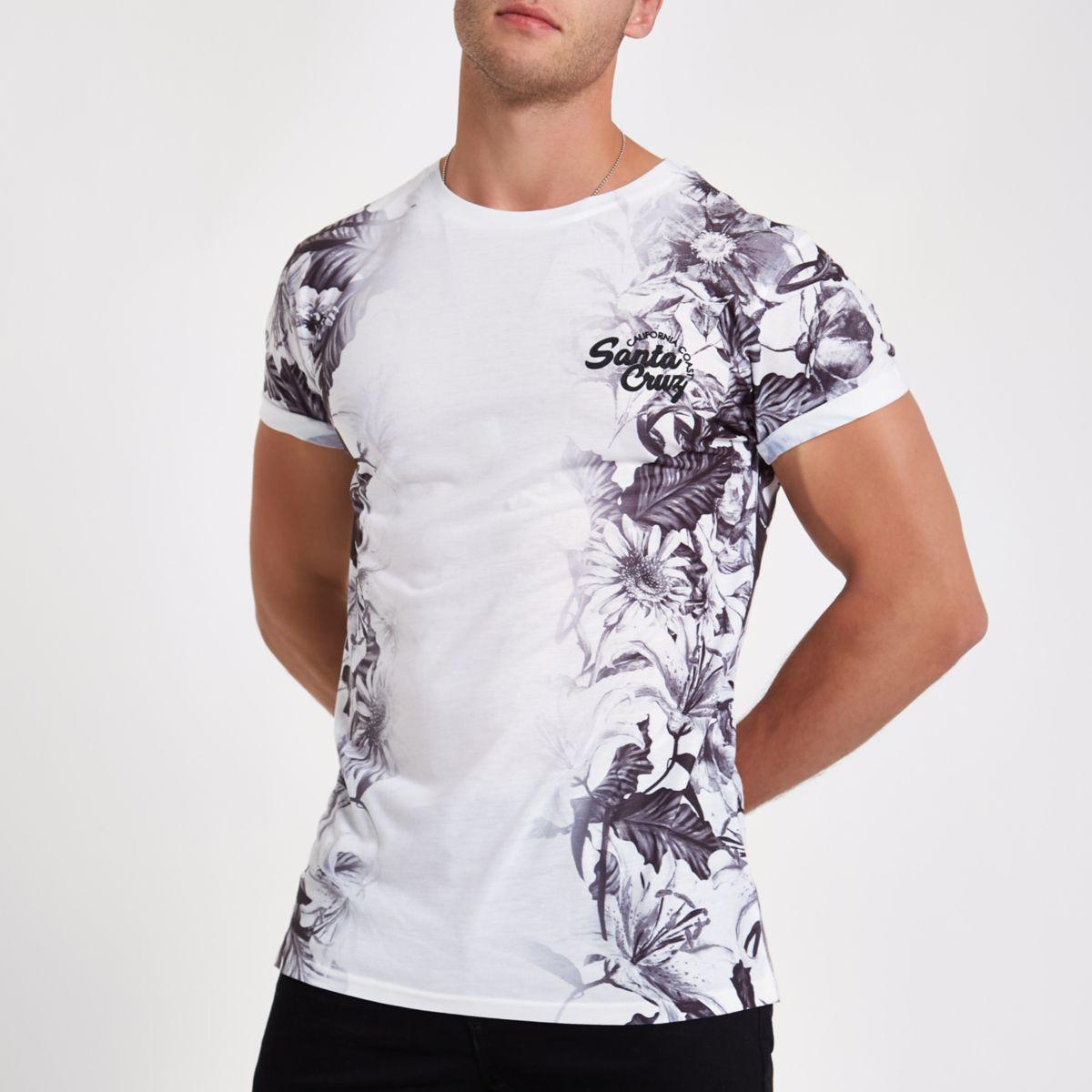 White floral slim fit 'Santa Cruz' T-shirt