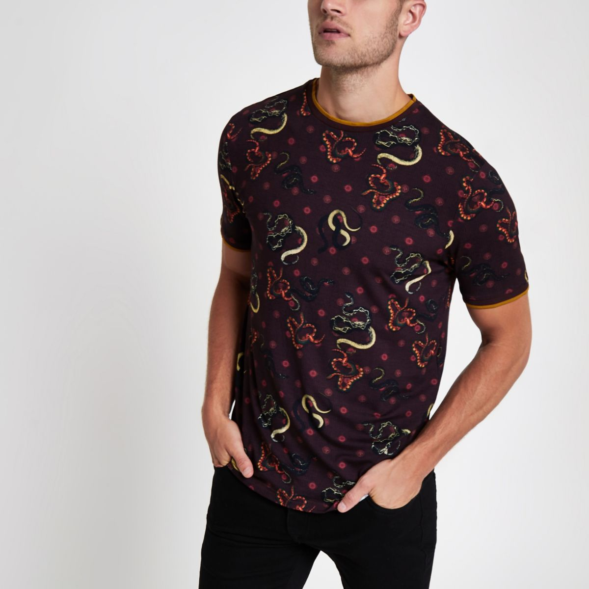 Dark red slim fit snake print T-shirt