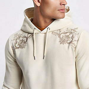 Sweat à capuche slim motif baroque grège