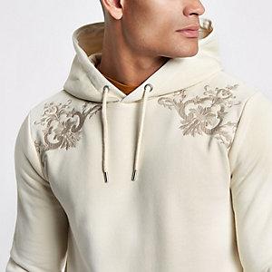 Kiezelkleurige barokke slim-fit hoodie