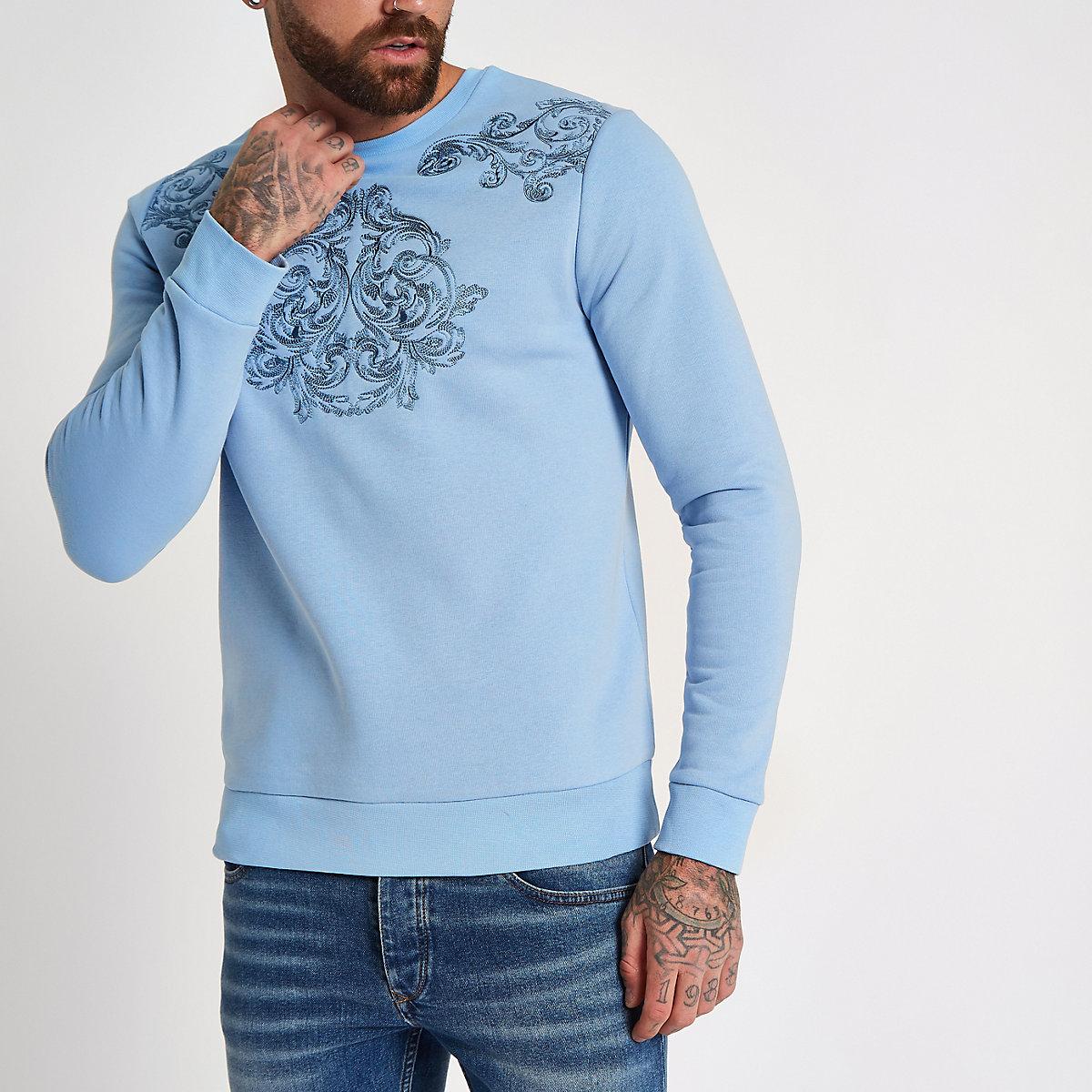 Light blue embroidered sweatshirt