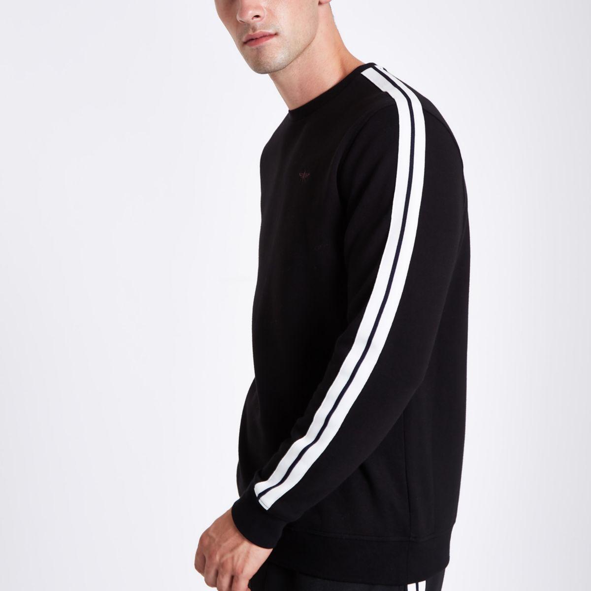 Black slim fit tape sleeve sweatshirt