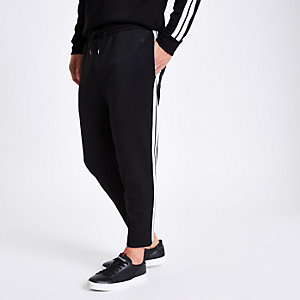 Black tape side slim fit joggers