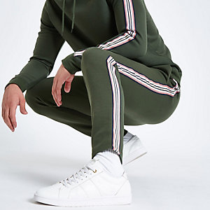 Khaki green side tape slim fit joggers