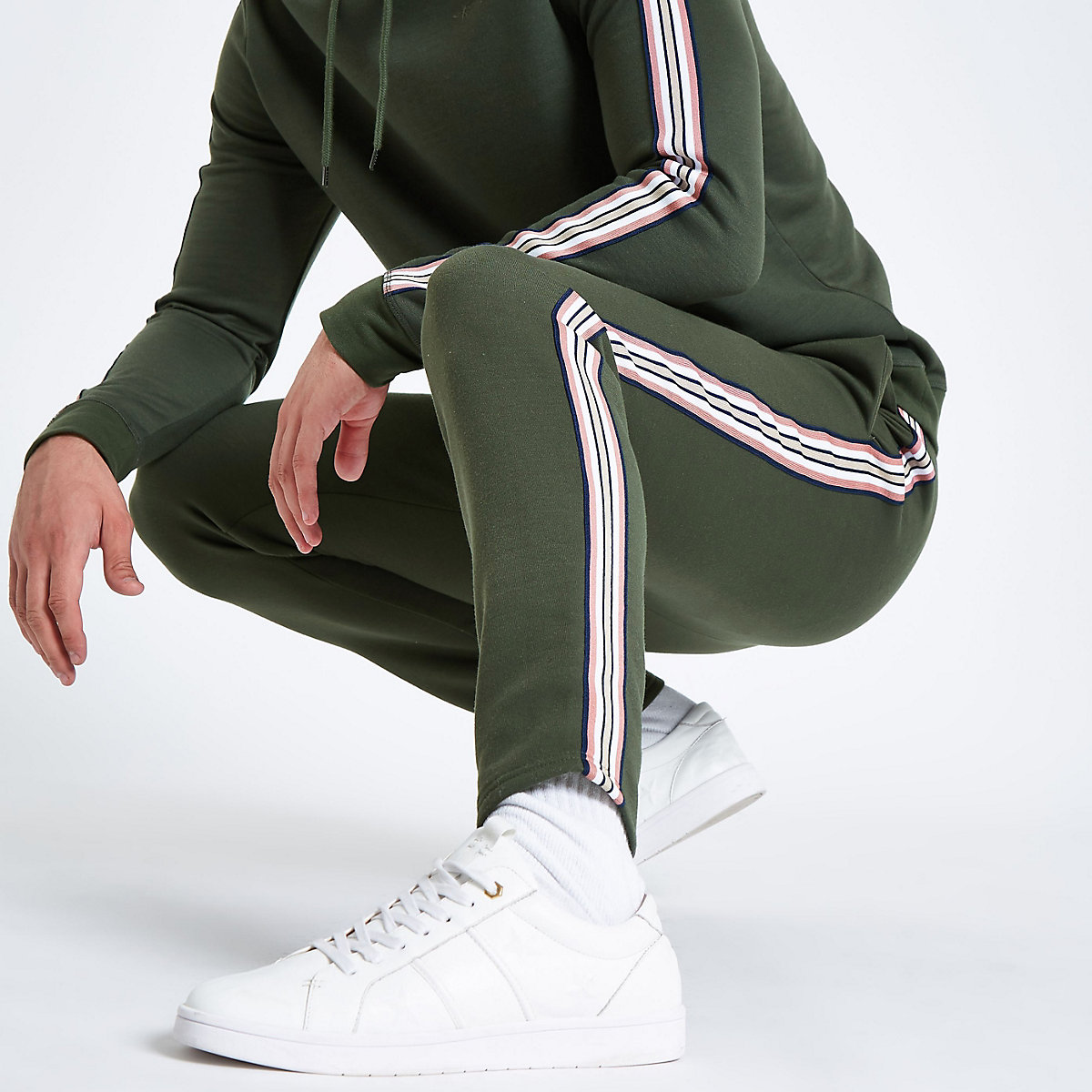 Khaki green side tape slim fit joggers