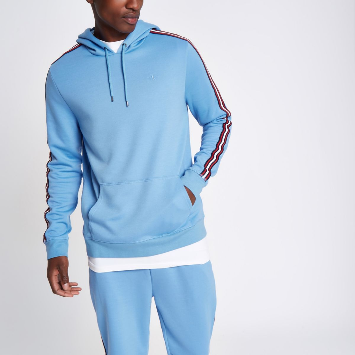 Blue slim fit tape sleeve hoodie